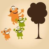 drzewni śmieszni kreskówek ludzie Obraz Royalty Free