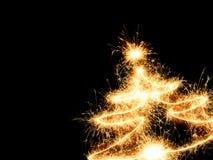 drzewni Bożych Narodzeń sparklers Zdjęcie Royalty Free