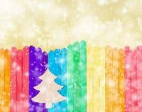 Drzewni boże narodzenia na kolorowym drewnie Fotografia Stock