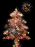 drzewni Boże Narodzenie fajerwerki Obrazy Royalty Free