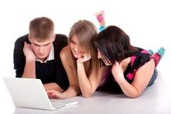 drzewni laptopów ucznie Obraz Stock