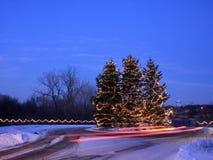 drzewni samochodowi bożonarodzeniowe światła Zdjęcia Stock