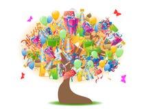 drzewni urodzinowi prezenty ilustracji