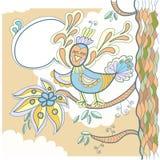 Drzewny i mały ptak z słowo bąblem dla twój tex Obrazy Stock