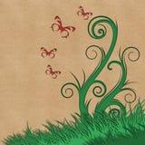 Drzewny i motyli tło Obrazy Royalty Free