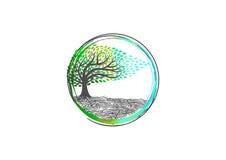 Drzewny logo, natury joga, roślina relaksuje symbol, zdrój ikonę, organicznie masażu znaka, sensowego wellness i korzeniowego zdr Zdjęcia Stock