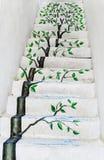 Drzewny obraz na betonowym schody fotografia stock