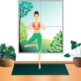 Drzewny pozy joga ilustracja wektor