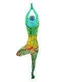 Drzewny pozy joga, 7 kolorów chakra akwareli kwiatu kwiecisty wzór ilustracja wektor