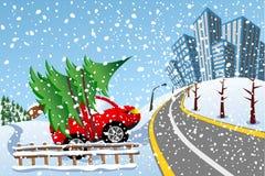 Drzewny Samochodowy Bożenarodzeniowy Śnieżny miasto Przynosi Do domu Zdjęcia Stock
