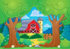 Drzewny temat z gospodarstwem rolnym 4 Obrazy Royalty Free