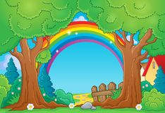 Drzewny tematu krajobraz 4 ilustracja wektor