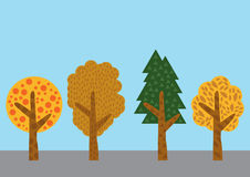 Drzewny wektorowy ustawiający na koloru tle Zdjęcie Stock