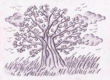 Drzewo łąki ilustracji
