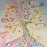Drzewo życie w bas uldze ilustracja wektor