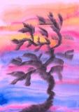 Drzewo - abstrakcjonistyczny watercolour obraz ilustracja wektor