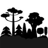 Drzewo czarne sylwetki ilustracja wektor