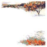 Drzewo i łąka Fotografia Royalty Free