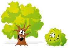 Drzewo i krzak ilustracji