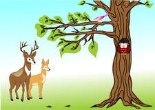 Drzewo i liście Obrazy Stock