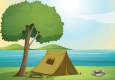 Drzewo i namiot ilustracja wektor