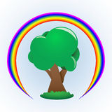 Drzewo i tęcza Obrazy Royalty Free