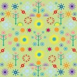 Drzewo kwiatów wzory barwili symbolu ornament na zielonym tle royalty ilustracja