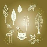 Drzewo, kwiat i insekt ciący, royalty ilustracja