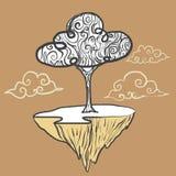 Drzewo na niebie ilustracja wektor
