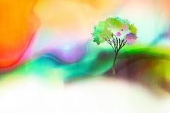 Drzewo na watercolored tle obraz royalty free