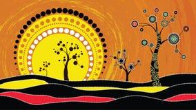 Drzewo na wzgórzu, Tubylczy drzewo, Tubylczej sztuki wektorowy obraz z drzewem i słońce, Ilustracja opierająca się na aborygenu s obraz stock