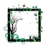 Drzewo natura rozprasza liście z zwierzęcym przyroda ptakiem, rabem i royalty ilustracja