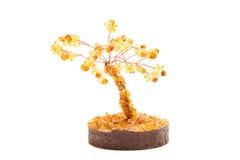 Drzewo odizolowywający nad bielem szczęście bursztyn Obrazy Stock