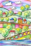 drzewo pola Wiejski krajobraz z domami i drzewami Jaskrawy rysunek barwionymi ołówkami royalty ilustracja