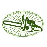 Drzewo powalać usługi - wektorowa ikona z piłą łańcuchową ilustracja wektor