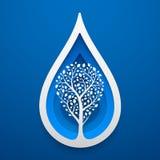 Drzewo wśród wody kropli kształta Papierowa sztuka dla Ziemskiego dnia ilustracja wektor