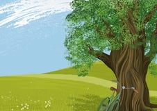 Drzewo w łące ilustracji