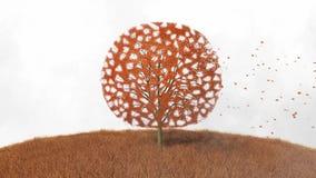 Drzewo w jesieni, spada liście ilustracja wektor