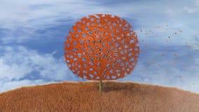 Drzewo w jesieni, spada liście ilustracji