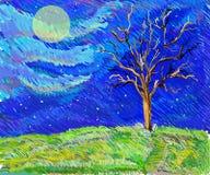 Drzewo w polu w moolight nakreślenia krajobrazie Zdjęcia Stock