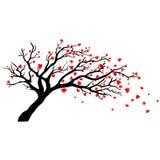 Drzewo w wiatrze z latającymi sercami Zdjęcia Royalty Free