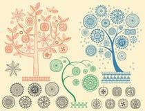 Drzewo wzory z różną elementu wektoru ilustracją Aztek cywilizacj Majscy antyczni ornamenty ilustracja wektor