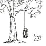 Drzewo z huśtawką ilustracja wektor