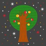 Drzewo z jabłkami przy nocą Obrazy Royalty Free