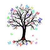 Drzewo z kolorowymi motylami ilustracja wektor