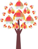 Drzewo z kolorowymi patchworków sercami Piękna karta Zdjęcia Royalty Free