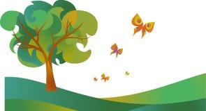 Drzewo z kwiatami ilustracja wektor