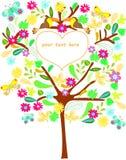 Drzewo z kwiatami, liśćmi, motylem i pieprzojadem, Zdjęcia Stock
