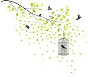 Drzewo z latającymi ptakami ilustracja wektor