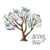Drzewo z liśćmi ręka rysujący atrament i barwiący nakreślenie z książkami, filiżankami, szkło lampami i zwrotem dla zieleni prasy ilustracja wektor